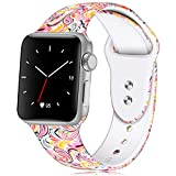 KOLEK Bracelet Compatible for Apple Watch, Floral Printed Silicone Watch Band 38mm 40mm Strap for Apple Watch Series 4/3/2/1, S/M