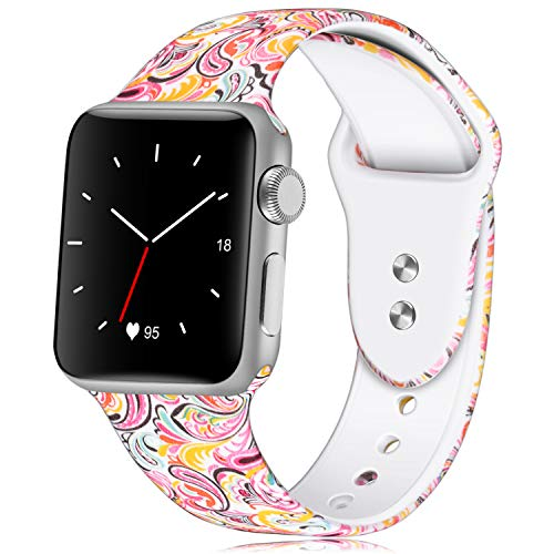 Magic The Of Color Watch (KOLEK Bracelet Compatible for Apple Watch, Floral Printed Silicone Watch Band 38mm 40mm Strap for Apple Watch Series 4/3/2/1, S/M)
