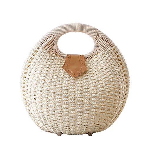 Tonwhar Lady's Stylish Shell Shape Straw Tote Handbag Rattan Beach Bag (Shape Straw)