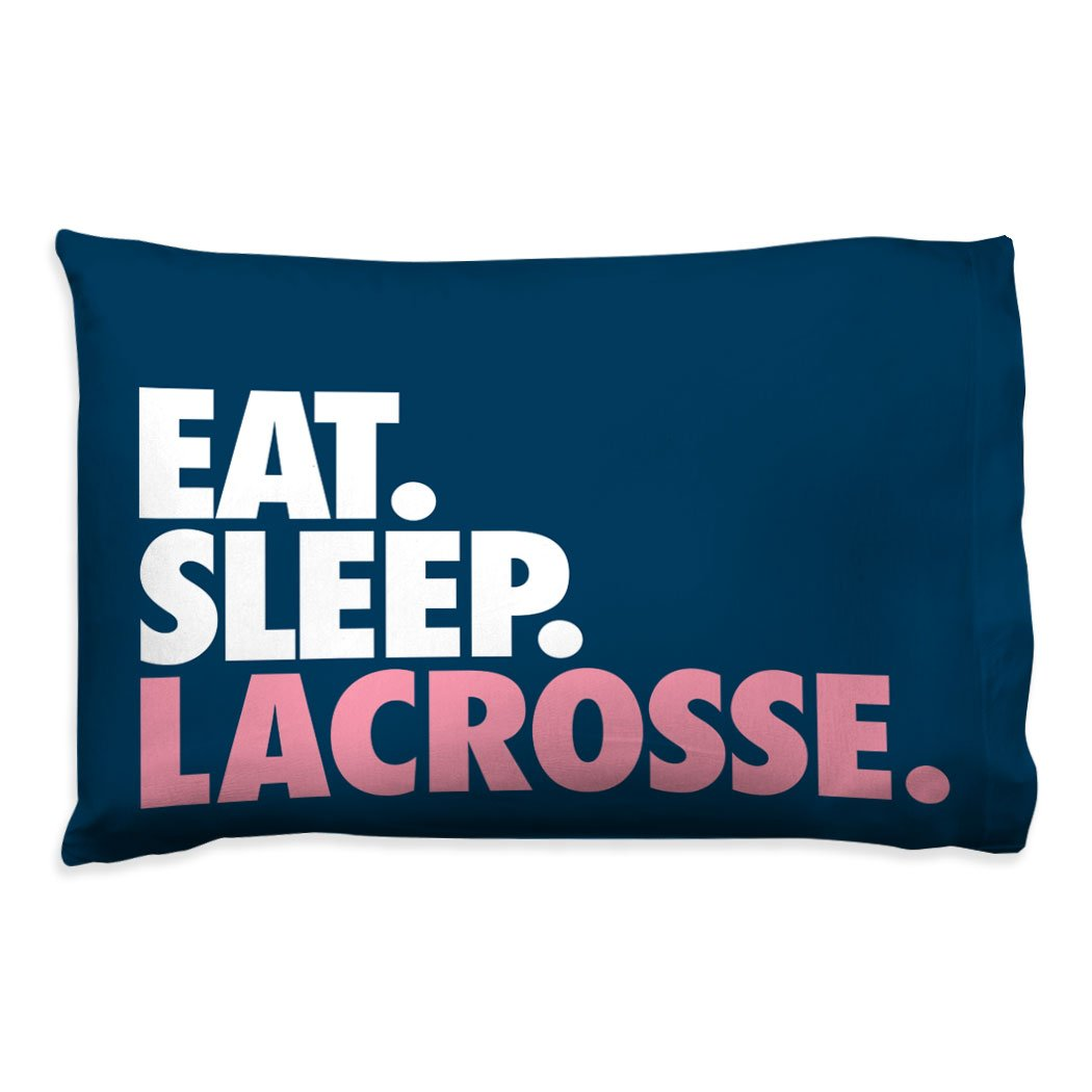 Eat Sleep Lacrosse Pillowcase | Girls Lacrosse Pillows by ChalkTalk Sports | Pink lx-09066-PINK