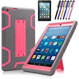 Fire HD 8 2017 Case, Mignova Heavy Duty Hybrid Protective Case Build In Kickstand For All-New Fire HD 8 Tablet 7th / 8th Generation 2017 Release + Screen Protector Film and Stylus Pen (Gray/Pink)
