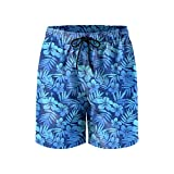 Blue Tropical Flowers Mens Quick Dry Classic Fit Beach Shorts with Drawstring