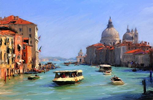 100% Genuine Real Hand Painted The Grand Canal Venice Canvas Oil Painting for Home Wall Art Decoration, Not a Print/ Giclee/ Poster, FRAMED, Ready to Hang