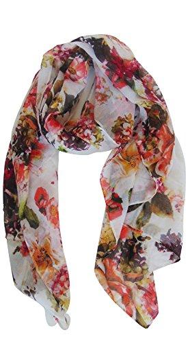 Scarves Shawls Fashion (Deria Flower Print Scarf Wraps, Fashion Lightweight Scarf For Spring Season by (Red))