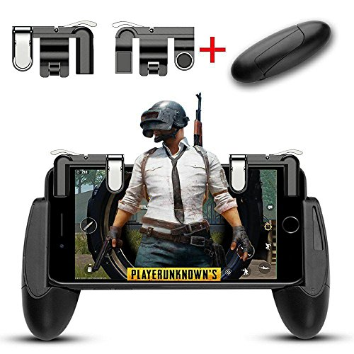 Mobile Game controller, Aimus Sensitive Aim Triggers and Game Grip Joystick for PUBG/Fortnite/ Knives Out/Rules of Survival, Gamepad for iPhone, Samsung and Android Smart phones (Black) by Aimus