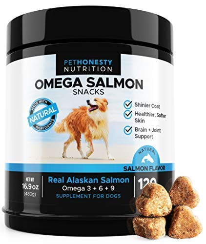 - Omega 3 Fish Oil For Dogs All-Natural Wild Alaskan Salmon Chews Omega 3 for Dogs for Healthy Skin & Coat, Cure Itchy Skin, Dog Allergies, Reduce Shedding - 120 Count Dog Fish Oil ()