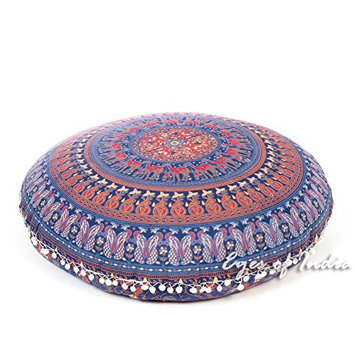 Eyes of India - 32'' Blue Floor Pillow Cushion Seating Throw Cover Mandala Hippie Round Colorful Decorative Bohemian boho dog bed IndianCover Only by Eyes of India (Image #1)