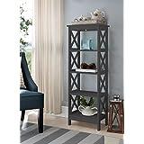 5 Tier GreyWood Bookshelf Bookcase Display Media Cabinet