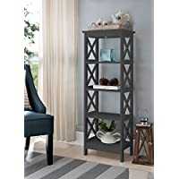5-tier GreyWood Bookshelf Bookcase Display Media Cabinet