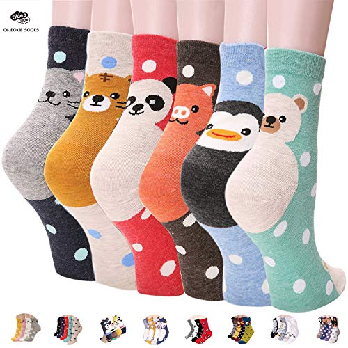 OKIE OKIE Womens Best Socks Gift Set-Cute Animals Art Cartoon Character Funny Novelty Crew (Animal - Double Animal 6pcs) -