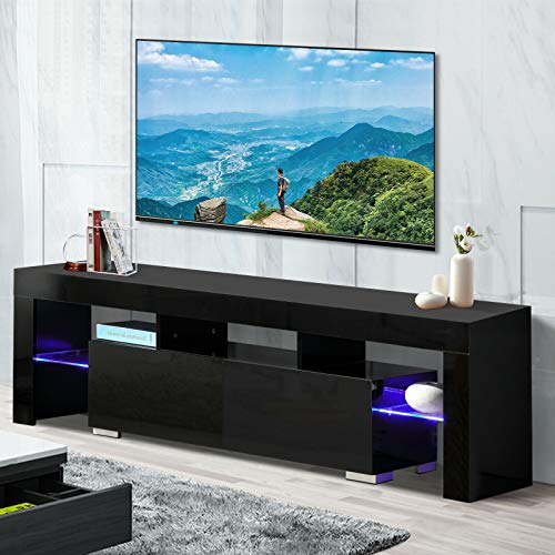 TV Stand Elegant Black High Gloss LED Light Glass Shelves TV Cabinet Modern TV Table 2 Drawers Console Durable Entertainment Center Black 63""