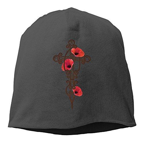 Iron Cross Hat Cap - Men's Warm Beanie Hat Cotton Knit Cap Iron Cross Poppies Black