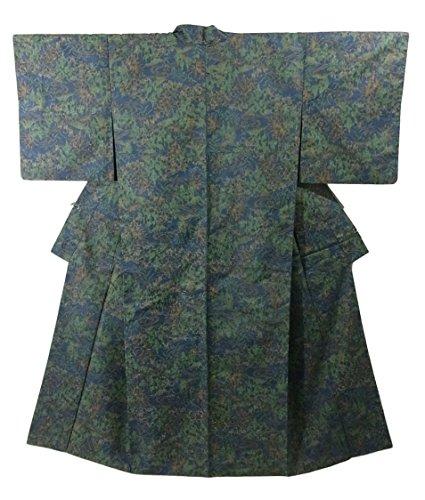 リサイクル 着物 紬  経絣 植物文様 正絹 袷 裄63cm 身丈154cm