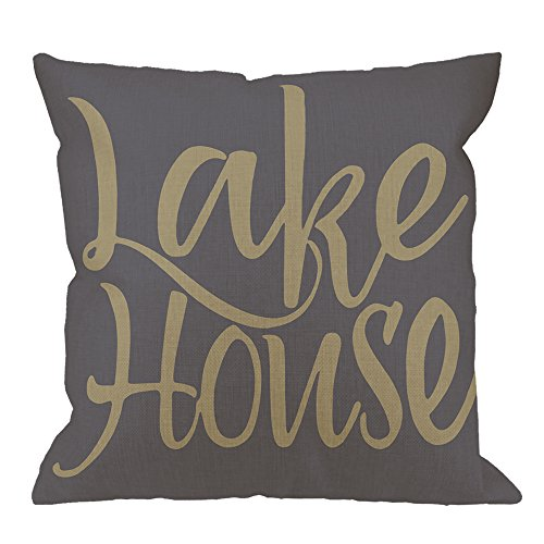 (HGOD DESIGNS Throw Pillow Case Lake House Cotton Linen Square Cushion Cover Standard Pillowcase for Men Women Home Decorative Sofa Armchair Bedroom Livingroom 18 x 18 inch)