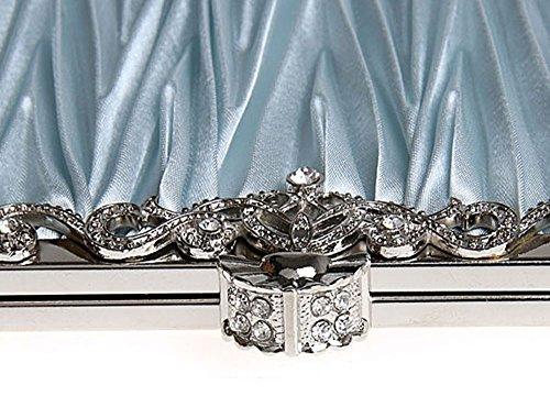 niceEshop(TM) Oro Bolso de Embrague Exquisita Cristal Plisado Decorativo de la Noche de Fiesta para Mujer Plata