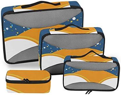 トラベル ポーチ 旅行用 収納ケース 4点セット トラベルポーチセット アレンジケース スーツケース整理 月 フクロウ柄 星 収納ポーチ 大容量 軽量 衣類 トイレタリーバッグ インナーバッグ