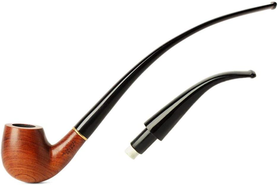Long Stem Rosewood Churchwarden Pipe for Men Hand Carved Tobacco Pipe 3mm Filter