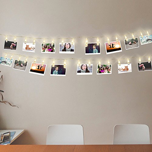 Glamouric Photo Clip String Lights Kit-16 Clips/LEDs,4,5 Meter/15 Feet,Battery Powered,Perfect for Hanging (Photo Battery Kit)