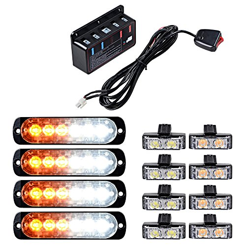 Set Amber White Ultra Slim 6-LED 18W Emergency Hazard Caution Surface Mount Strobe Light with 8pcs Car Truck Grille Deck Dash Flashing Light -