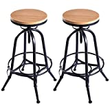 Set of 2 Vintage Bar Stools Industrial Wood Top Metal Design Adjustable Swivel