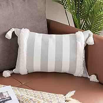 Serape print striped western pattern Lumbar Pillow van camper cottage decor neutral blue mauve beige long body pillow throw decorative