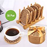 UMIPUA Drink Cork Coasters with Holder, 16PCS Cork Coasters Set Round Mandala Patterns Coasters for Drinks in Office, Home and Cottage, Bar, Restaurant, Wine Glasses, Cups, Mugs, Round Edge, Brown