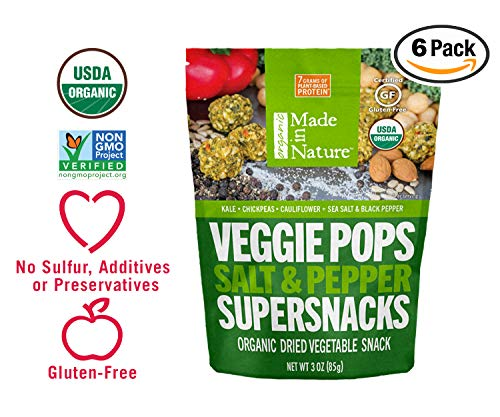 (Made in Nature Organic Veggie Pops - Salt & Pepper 3oz (Pack of 6) - Non-GMO Vegan Veggie Snack)