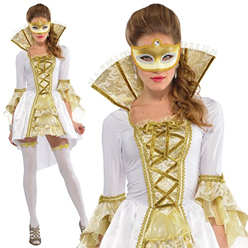Womens Venezia Masquerade Ball Gown Carnival Venetian Fancy Dress Costume + Mask (Medium 6-8)