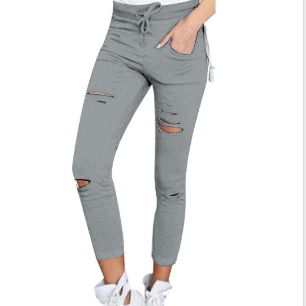 a sigaretta e a vita alta Hippolo pantaloni strappati da donna grigio Grau s
