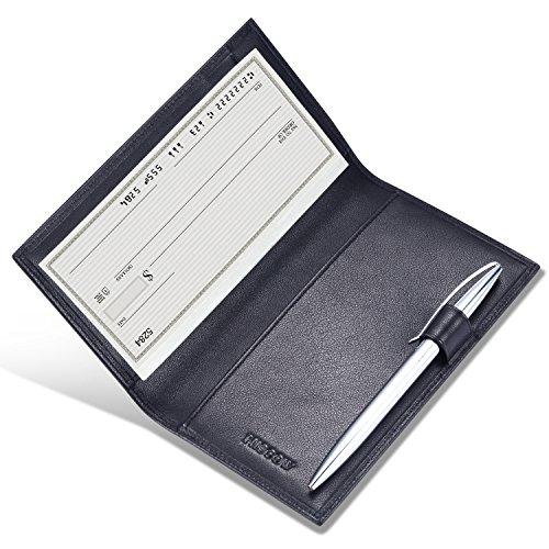 Black Leather Checkbook Cover Organizer - HISCOW Supple Leather Checkbook Cover with Free Divider - Italian Calfskin (Black)