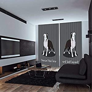 MOOCOM Pitbull,Blackout Drapes,American Pitbull Terrier Pet Cartoon Graphic Design on Grey Background,LivingRoom Curtains,W108xH84 inches 13