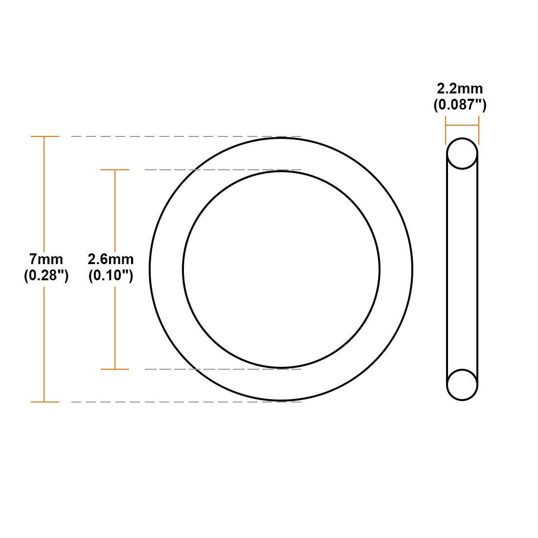 uxcell O-Rings Nitrile Rubber 11.6mm Inner Diameter 16mm OD 2.2mm Width Round Seal Gasket 50 Pcs