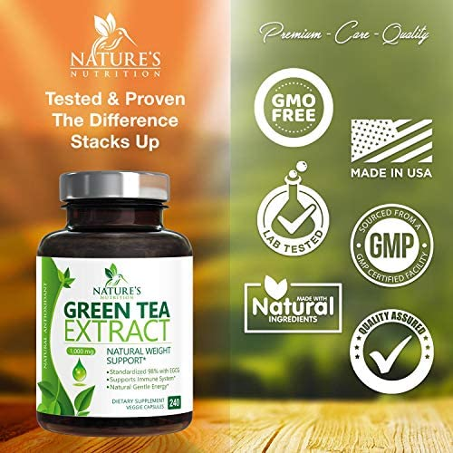 Green Tea Extract 98% Standardized Egcg for Healthy Weight Support 1000mg - Supports Healthy Heart, Metabolism & Energy with Polyphenols - Gentle Caffeine, Made in USA - 240 Capsules 4
