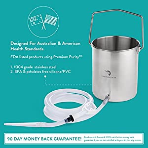 Aussie Health Co Non-Toxic Stainless Steel Enema Bucket Kit. 2 Quart, Phthalates & BPA-Free. Reusable For Home, Coffee, Water Colon Cleansing Detox Enemas. Includes Nozzle Tips and Storage Bag