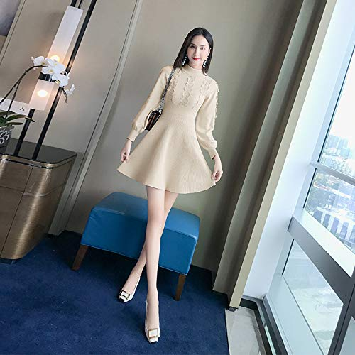 661f6f84912e beige A gaoyz Inverno Vintage Donna Gonna Abito Trapezio Vita Pizzo s Alta  Elegante Elastica Hwg Autunno Sirena Maglia EqawAE