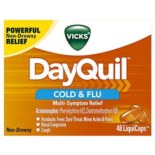 Vicks DayQuil Cold & Flu Multi-Symptom Relief, 48 LiquiCaps - #1 Pharmacist Recommended -Non-Drowsy, Daytime Sore Throat, Fever, and Congestion Relief