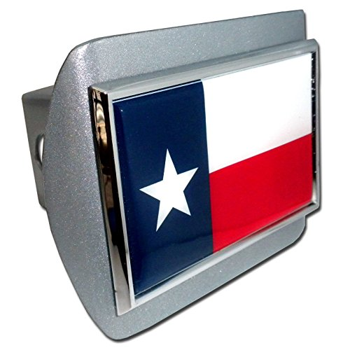 Texas Flag All Metal Brushed Silver Hitch Cover