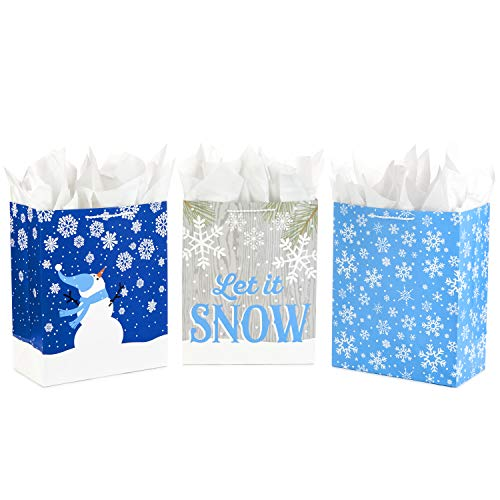 Hallmark Large Holiday Gift Bag Assortment with Tissue Paper, Blue (Pack of 3 Assorted Designs for Christmas or Hanukkah Gifts)