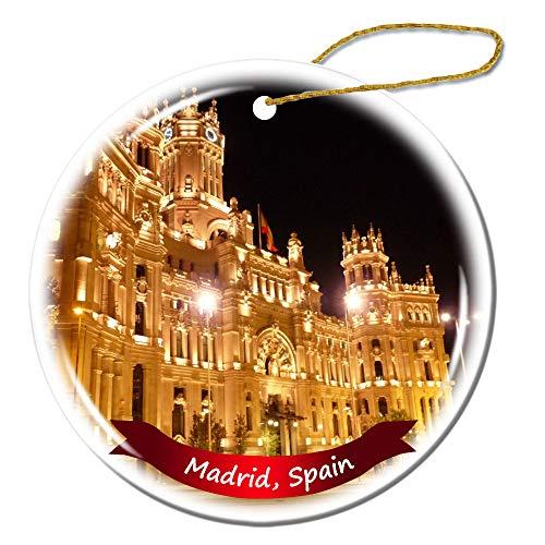 Fhdang Decor Madrid Spain Christmas Ornament Porcelain Double-Sided Ceramic Ornament,3 - Madrid Ceramic Real