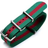 20mm G10 Nato James Bond Heavy Nylon Strap Brushed Buckle - J07 Green-Red-Green