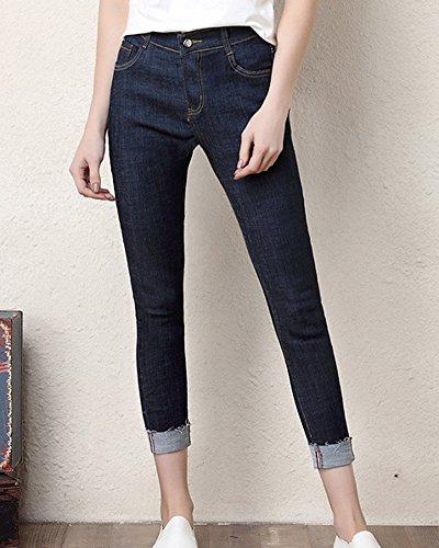 Crayon Jeans Pants Pantalon Jean Fonc Slim Femmes Bleu q6wtUnZUT