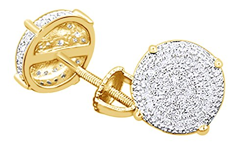 Round Cut White Natural Diamond Cluster Stud Earrings In 14k Yellow Gold Over Sterling Silver (0.15 cttw) (Round Diamond Yg Cut 14k)