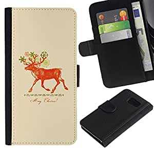 For Samsung Galaxy S6 SM-G920,S-type® Christmas Deer Red Peach - Dibujo PU billetera de cuero Funda Case Caso de la piel de la bolsa protectora