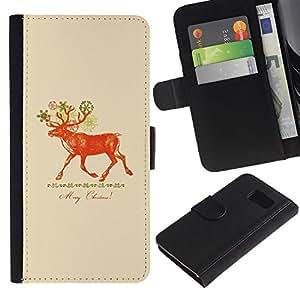 WINCASE ( No Para S6 EDGE ) Cuadro Funda Voltear Cuero Ranura Tarjetas TPU Carcasas Protectora Cover Case Para Samsung Galaxy S6 SM-G920 - Venados de Navidad melocotón rojo