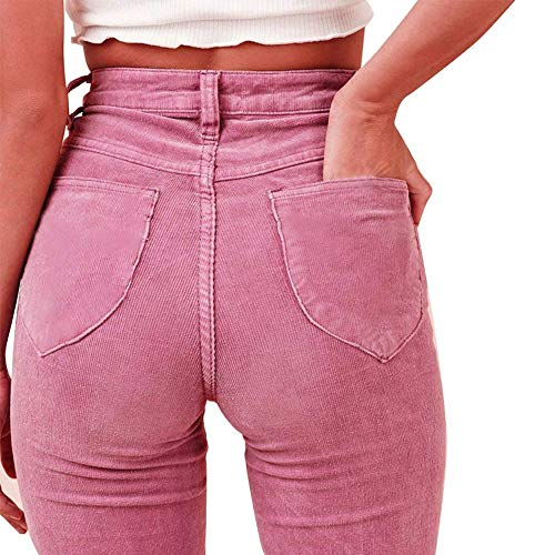DY coperate Women High Waist Bell Bottoms Casual Corduroy Slim Fit Wide Leg Pants (Small, Pink)