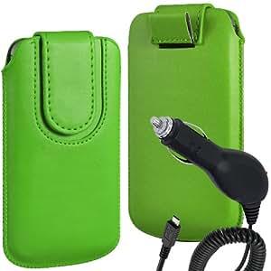 N4U Online Premium PU tirón del cuero del tirón del caso Tab cubierta de bolsa Con magnética Cierre de correa y Cargador de Coche para Huawei Ascend P6 - Verde