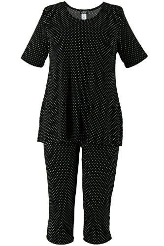 Jostar Women's Stretchy Capri Pants Set Short Sleeve Plus Print 2XL Black Dots