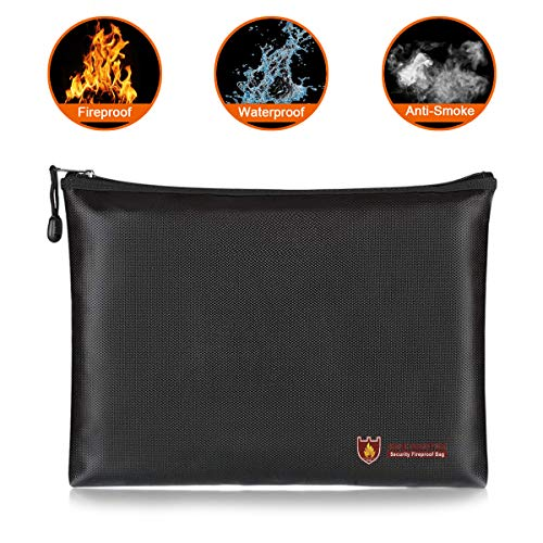 Fireproof Document Bags,YITOOK A4 Size Waterproof and Fireproof Bag with Fireproof Zipper for iPad, Money, Jewelry, Passport,Valuables, Files Storage (13.5''×9.8''×1.4'') by YITOOK