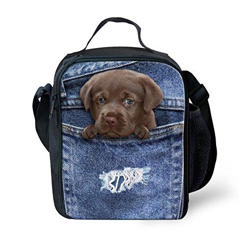 HUGS IDEA Kids Girls Lunch Bags Pocket Dog Pattern Cute Lunchbox Thermal Instulated Food Storage (Tin Dark Denim)