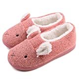 Neeseelily Women Comfort Plush Cozy Home Slippers Animal Non Slip Indoor Shoes (7.5-8B(M) US, Pink)